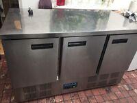 Large 3 door polar commercial worktop fridge