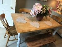 Farmhouse shabby chic dining table 4 chairs and bench