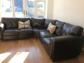 SOLD !! Brown Leather Corner Sofa