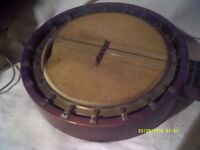 "LONG ARM "" JAZZ "" BANJO , 6 STRING 9"" VELLUM 18 TENSIONERS in PRETTY GOOD CONDITION+++"
