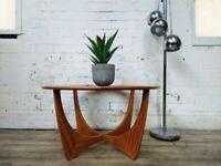 G Plan Astro Vintage Mid Century Solid Teak & Glazed Glass Retro Coffee Table