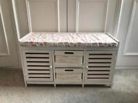 White Ottoman / Bench with Storage. Perfect for Bathrooms, Hallways and Kids Rooms!