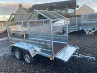 BRAND NEW MODEL 8.7x4.2 TWIN AXLE TRAILER WITH 80CM MESH AND TIPPING FEATURE 750KG