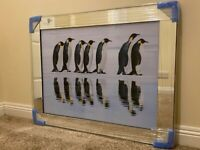 Penguins Reflections Glass Picture Mirror Framed Liquid Art (95x75cm) – BRAND NEW