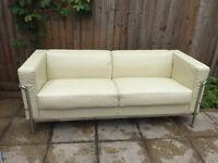 Vey stunning comfortable three seats faux leather sofa