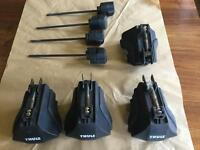 Thule 753 foot pack for standard roof rails and 4 Thule lock barrels