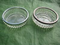Two Cut Glass Bowls with Chrome Rims - £4.00 each or 2 for £7.00