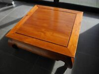 Large solid wood SHEESHAM heavy square coffee table. Cost £280