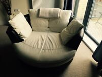 Dfs leather corner sofa and rotating chair