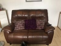 Two X 2 seater brown leather sofas