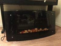 B&Q Carolina wall hung heater with a fire display and remote control