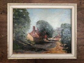 Joan Woodfield - GT Offley High Street Painting 1975 Oil Canvas Framed British Art Exhibited Artist