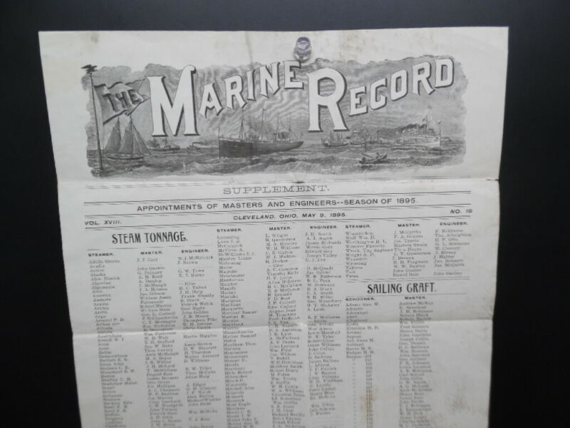1895 The Marine Record Broadside Masters Engineers Great Lake Shipping Antique