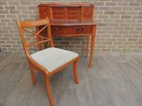 Regency Compact Burr Wood Vintage Desk + Chair (UK Delivery)