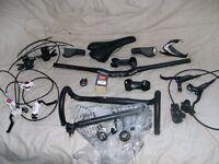 road bike/mountain bike parts job lot 29er 700c wheels hydraulic disc brakes bars ritchey carbon