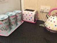 Spotty kettle & toaster Tea,coffee,sugar canisters