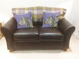 M&S 2 SEATER BROWN LEATHER SOFA