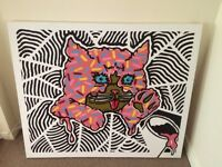 Large Hand Painted Cool Graffiti Style Canvas