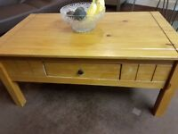 Coffee Table with Drawer Real Wood Light Wax