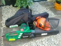 Qualcast 2000w electric chainsaw & protective helmet & carry bag