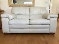 Two light Pebble colour 2 Seater Leather Sofas