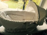 White wicker moses basket- hardly used!! As good as new. Comes with mattress and two white sheets