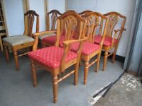 SET OF SIX / EIGHT DUCAL SOLID PINE FARMHOUSE STYLE DINING CHAIRS CARVER CHAIRS FREE DELIVERY