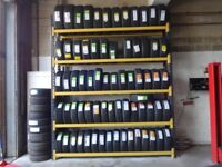 TYRE STORAGE RACK RACKING. HEAVY DUTY. BRITISH MADE. 280cm LONG x 315cm HIGH. (9ft 2in x 10ft 5in)
