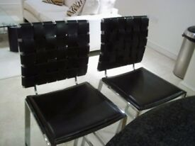 PAIR OF BAR STOOLS BROWN WEAVE LEATHER & CHROME
