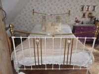 Original Victorian king size brass and iron off white bedstead