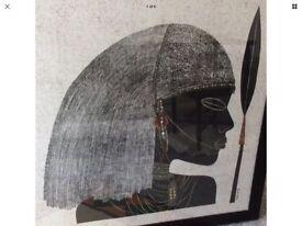 LARGE FRAMED SILK-SCREEN PRINT MASAI WARRIOR 39 x 39 Inches, 98 x 98 cm