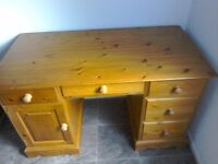 Used hand made wooden pine desk.
