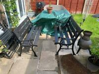 Vintage cast iron and wood garden bench