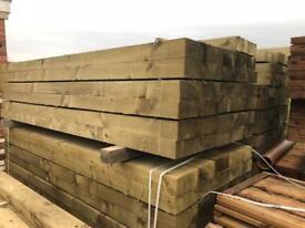 🌞Tanalised 190 X 90 X 2.4M Wooden Railway Sleepers