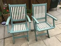 Garden chairs x6. Steamer &a table Painted good condition.