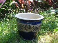 Nice Deep Blue Glazed Garden Planter Plant Pot with Swirl Decoration 16cm Tall