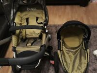 Quinny Buzz carry cot, pram and accessories