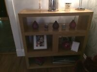 Oak nest of tables and matching display unit
