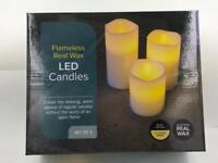 10/12.5/15cm Set of 3Real Wax Flameless Pillar Candles Not Plastic LED Candles