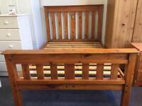 Antique French Pine Wood Double Bed Frame