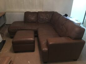 Chestnut brown leather corner sofa with matching storage foot stool