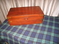 Victorian Writing slope/Box in Mahogany with brass banding, Some restoration needed .