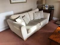 2 sofas and footstool - good condition - 4.5 years old