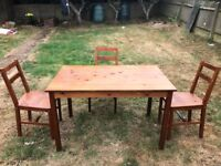 Set wooden brown table (4 people) + 3 chairs