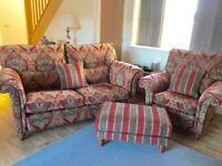 Duresta Sofa, Armchair & Footstool