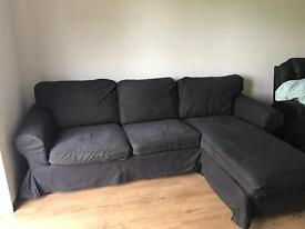 Brown sofa with chaise longue