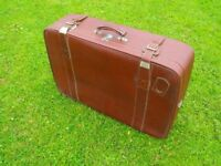Very Large - faux leather Strong SUITCASE with straps: 30inch wide