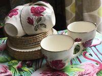 Harvest Rose 1950s tea set. Six trios.