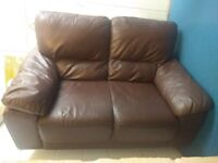 QUICK SALE - Good quality brown faux leather 2 seater sofa