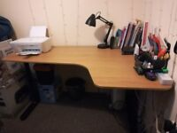LOCAL DELIVERY Corner desk (Ikea BEKANT, RHS) (oak veneer with cable tidy and adjustable height)